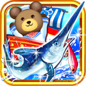 Androidアプリ「クマ、世界を釣る![登録不要の直感型釣りゲーム]」のアイコン