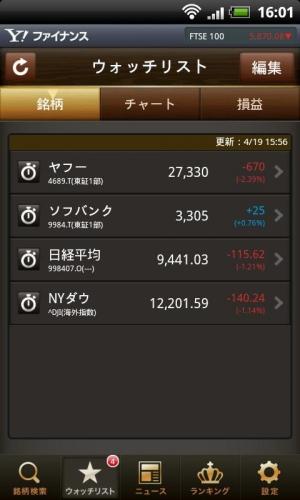 Androidアプリ「Yahoo!ファイナンス 株価チェック」のスクリーンショット 3枚目