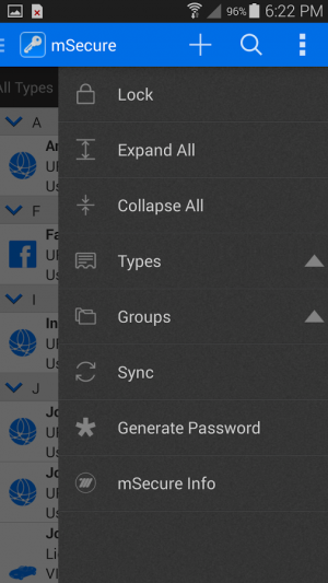 Androidアプリ「mSecure Password Manager」のスクリーンショット 5枚目