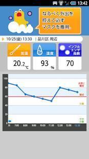 Androidアプリ「インフルエンザアラート - お天気ナビゲータ」のスクリーンショット 2枚目