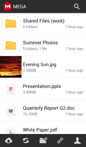 Androidアプリ「MEGA」のスクリーンショット 1枚目
