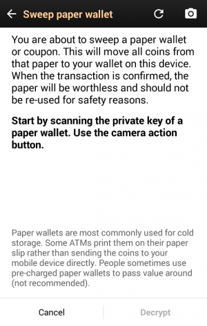 Androidアプリ「Bitcoin Wallet」のスクリーンショット 5枚目