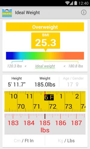 Androidアプリ「理想体重(BMI)」のスクリーンショット 2枚目