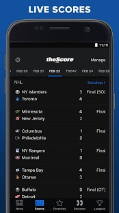 Androidアプリ「theScore: Live Sports Scores, News, Stats & Videos」のスクリーンショット 2枚目