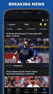 Androidアプリ「theScore: Live Sports Scores, News, Stats & Videos」のスクリーンショット 3枚目