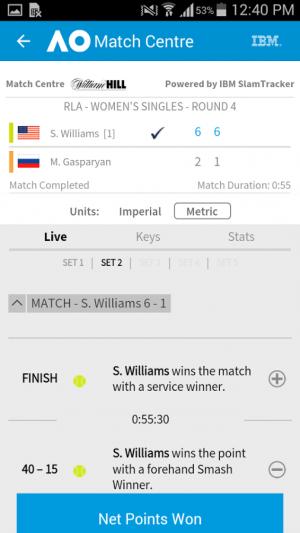 Androidアプリ「Australian Open Tennis 2017」のスクリーンショット 5枚目