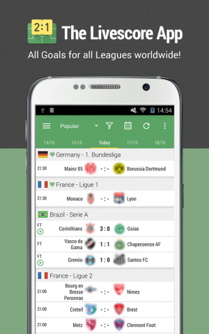 Androidアプリ「All Goals:Football Live Scores」のスクリーンショット 1枚目