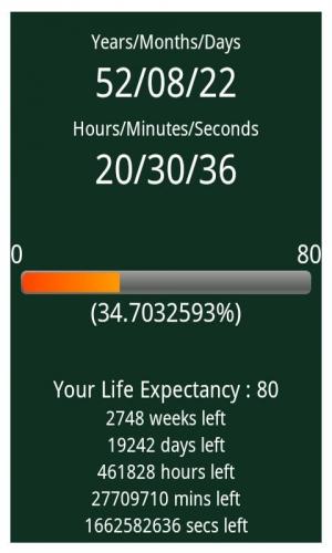 Androidアプリ「余命タイマー」のスクリーンショット 1枚目