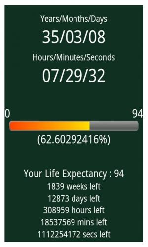 Androidアプリ「余命タイマー」のスクリーンショット 2枚目