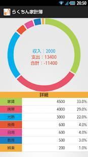 Androidアプリ「らくちん家計簿」のスクリーンショット 3枚目