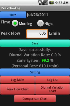 Androidアプリ「ピークフローログ」のスクリーンショット 2枚目