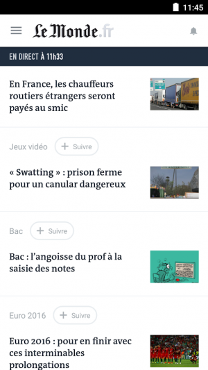 Androidアプリ「Le Monde, l'info en continu」のスクリーンショット 1枚目
