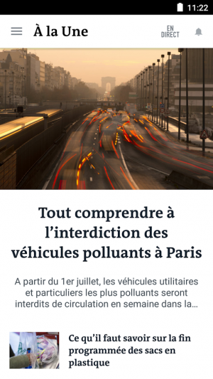 Androidアプリ「Le Monde, l'info en continu」のスクリーンショット 2枚目