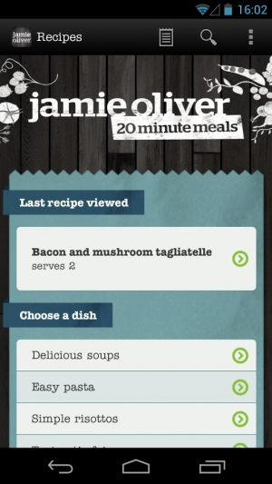 Androidアプリ「Jamie's 20 Minute Meals」のスクリーンショット 1枚目