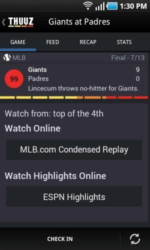 Androidアプリ「Thuuz Sports」のスクリーンショット 2枚目