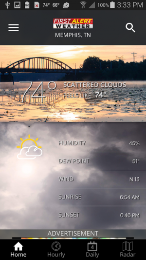 Androidアプリ「Action News 5 Memphis Weather」のスクリーンショット 1枚目