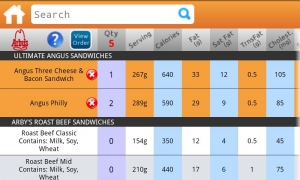 Androidアプリ「Fast Food Nutrition」のスクリーンショット 2枚目