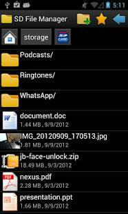 Androidアプリ「SD File Manager」のスクリーンショット 1枚目