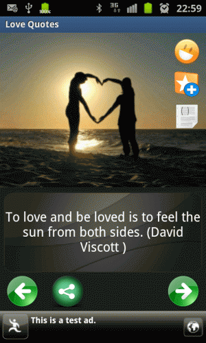 Androidアプリ「love & romantic quotes」のスクリーンショット 2枚目