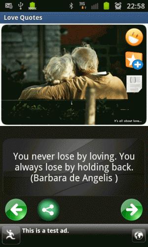 Androidアプリ「love & romantic quotes」のスクリーンショット 3枚目