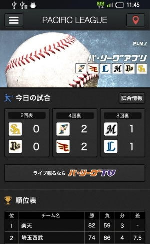 Androidアプリ「パ・リーグアプリ2014(プロ野球アプリ)」のスクリーンショット 2枚目