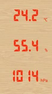 Androidアプリ「温湿気圧計(温度、湿度、気圧計)」のスクリーンショット 1枚目