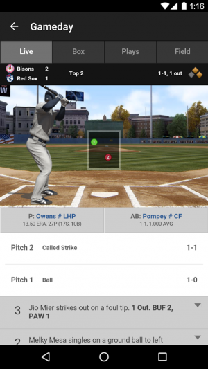 Androidアプリ「MiLB First Pitch」のスクリーンショット 2枚目
