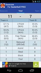 Androidアプリ「Boxscore For Basketball FREE」のスクリーンショット 2枚目