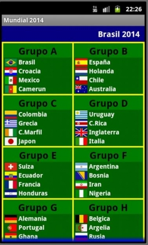 Androidアプリ「ワールドカップ2014フィクスチャ」のスクリーンショット 2枚目
