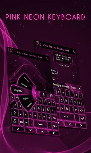 Androidアプリ「GO Keyboard Pink Neon Theme」のスクリーンショット 1枚目