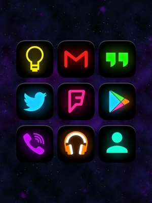 Androidアプリ「Neon Glow - Icon Pack」のスクリーンショット 1枚目