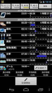 Androidアプリ「行動の記録(LifeLog)」のスクリーンショット 1枚目