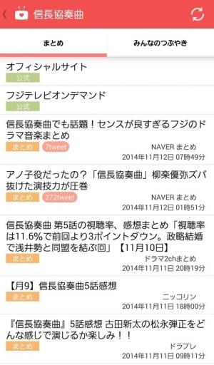 Androidアプリ「ドラマまとめ - 無料のドラマの感想・実況まとめアプリ」のスクリーンショット 2枚目