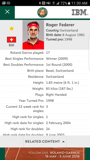 Androidアプリ「The Official Roland-Garros App」のスクリーンショット 2枚目