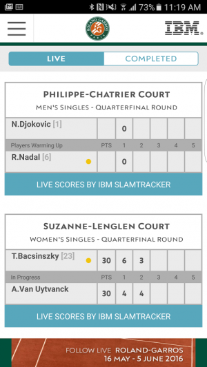 Androidアプリ「The Official Roland-Garros App」のスクリーンショット 3枚目
