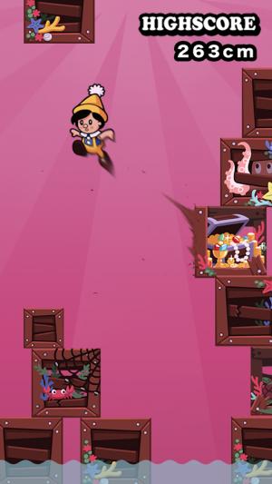 Androidアプリ「カベキック!ピノキオ - 高度10,000cmで脱出できる?」のスクリーンショット 1枚目