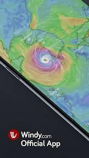 Androidアプリ「Windy: 風、波とハリケーン予測」のスクリーンショット 1枚目
