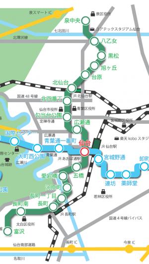 Androidアプリ「仙台市地下鉄路線図」のスクリーンショット 1枚目