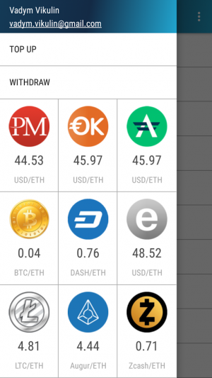 Androidアプリ「Ether Wallet」のスクリーンショット 2枚目