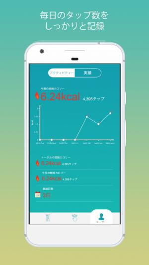 Androidアプリ「タップダイエット -タップだけでカロリーを燃やすアプリ」のスクリーンショット 3枚目