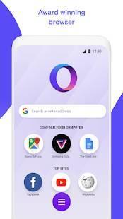 Androidアプリ「Opera Touch ウェブブラウザ」のスクリーンショット 1枚目