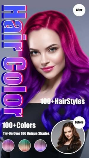 iPhone、iPadアプリ「Hair Color Dye - Hairstyle DIY」のスクリーンショット 1枚目