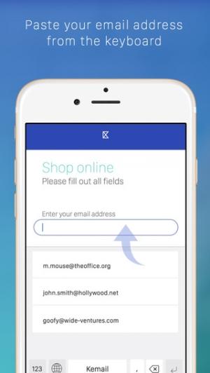 iPhone、iPadアプリ「Kemail — メールアドレスを素早く貼り付けるためのキーボード」のスクリーンショット 1枚目