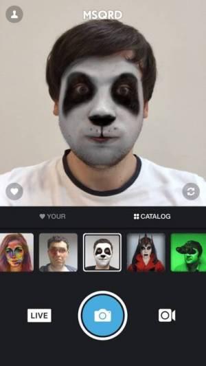 iPhone、iPadアプリ「MSQRD — 自撮りビデオ用のライブフィルターとフェイススワップ」のスクリーンショット 1枚目