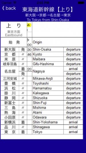"iPhone、iPadアプリ「東海道新幹線""のみ""時刻表」のスクリーンショット 3枚目"