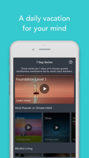 iPhone、iPadアプリ「Simple Habit - Mindfulness Meditations for Your Busy Life and Stress Relief」のスクリーンショット 1枚目