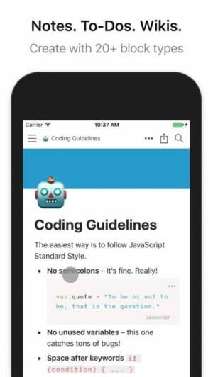 iPhone、iPadアプリ「Notion - Notes, Tasks, Wikis」のスクリーンショット 1枚目