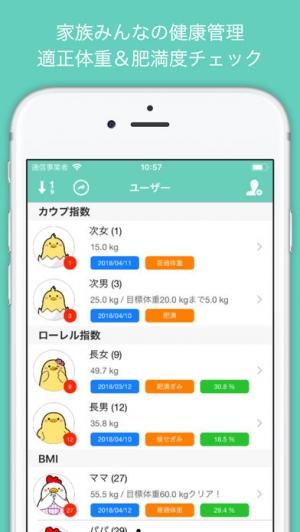 iPhone、iPadアプリ「家族の体重管理 - 世代別の適正体重&肥満度チェック」のスクリーンショット 1枚目