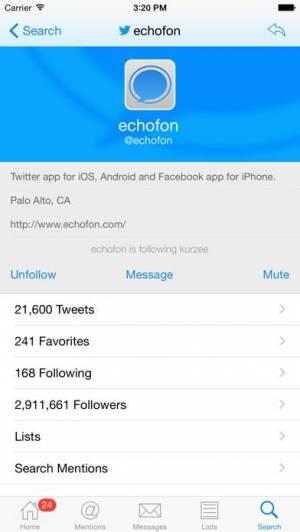 iPhone、iPadアプリ「Echofon for Twitter」のスクリーンショット 4枚目