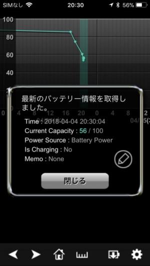 iPhone、iPadアプリ「バッテリーログ」のスクリーンショット 2枚目